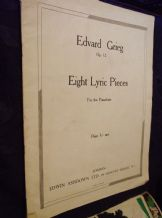 VINTAGE SHEET MUSIC BOOK EDWARD GRIEG EIGHT LYRIC PIECES PIANO OP 12
